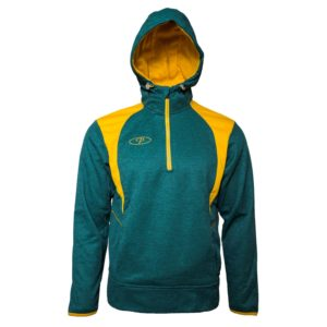Mens Atletico Half-Zip Fleece Hoodie Bottle/Gold